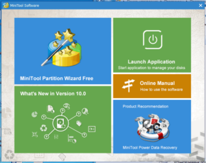 Первоначальный запуск программы MiniTool Partition Wizard Free Edition